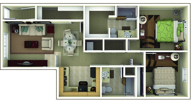 The Commons at Wynne Farms Apartments 2 Bedroom Floor Plan