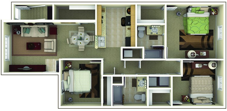 The Commons at Wynne Farms Apartments 3 Bedroom Floor Plan