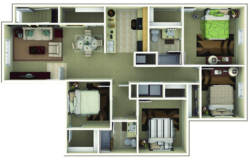 The Commons at Wynne Farms Apartments 4 Bedroom Floor Plan