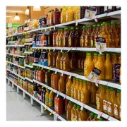 juice aisle in grocery store